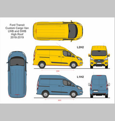 Ford transit custom cargo van l1h2 and l2h2 2018 vector