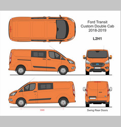 Ford transit custom delivery van l2h1 2018-2019 vector
