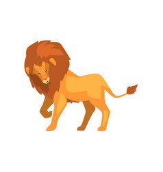 Formidable lion wild predatory animal side view vector