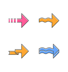 Forward arrows color icons set dotted wavy vector