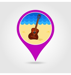 Guitar Beach pin map icon Summer Vacation vector