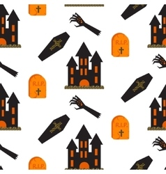 Halloween castle seamless pattern vector