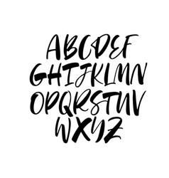 Handwritten calligraphy alphabet typeset vector