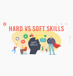 Hard vs soft skills landing page template tiny vector