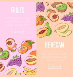 Healthy vegan nutrition flyers with fruits vector