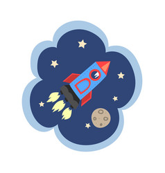 kid dreams sweet dream cloud with rocket flying vector image