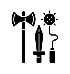 knight weapons black glyph icon vector image