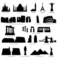 Landmarks silhouette set vector