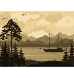 Landscape with Ship on Mountain Lake and Trees vector image