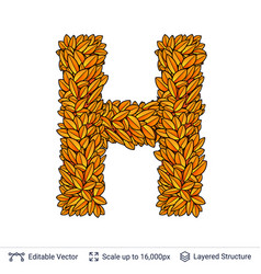Letter h sign of autumn leaves vector