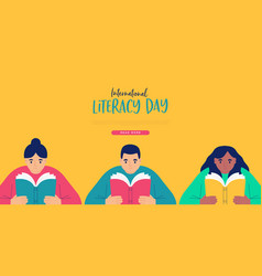 Literacy day web template children reading book vector