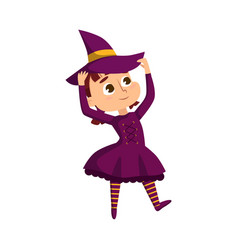 little witch cute girl wearing purple dress and vector image