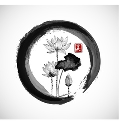 Lotus flowers in black enso zen circle vector image