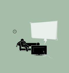 man watching tv and sitting on a sofa couch vector image