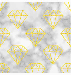 Marble background with golden diamond vector