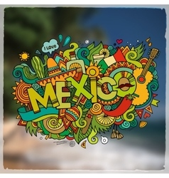 Mexico hand lettering and doodles elements emblem vector