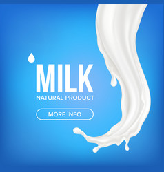 milk splash motion splashing breakfast vector image