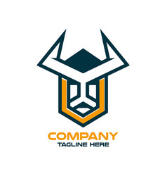 modern letter v and head viking logo vector image