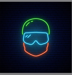 Neon snowboarder icon vector