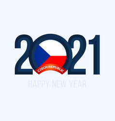 New year 2021 with czech republic flag with vector