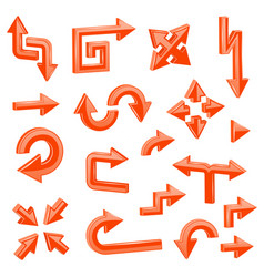 orange 3d arrows set of different shiny web signs vector image
