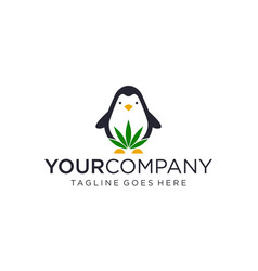 Penguin and cannabis forms for logo design vector