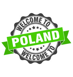 Poland round ribbon seal vector