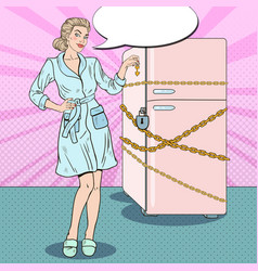 pop art woman on diet with fridge chain vector image