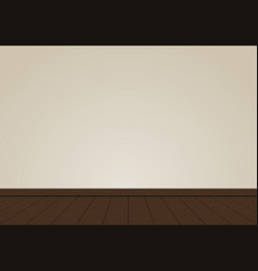 Realistic cream wall blank with oak wood floor vector