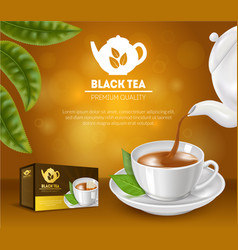 Realistic detailed 3d black tea ads vector