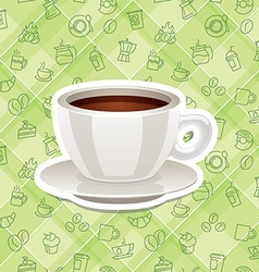 realistic sticker icon with cup of coffee vector image