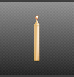 Realistic yellow wax candle burning isolated on vector