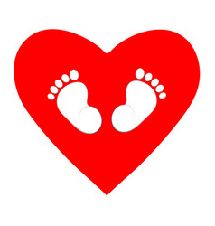 Red heart with footprints on a white background vector