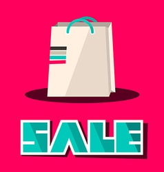 Sale title with retro paper shopping bag on pink vector