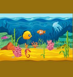 Sea underwater fishes cartoon aquarium background vector