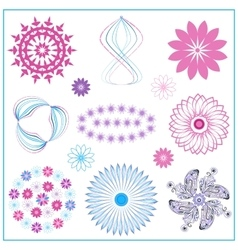Set multi colored ornaments circle oval flower vector image