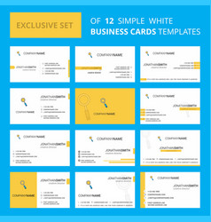 set of 12 search creative busienss card template vector image