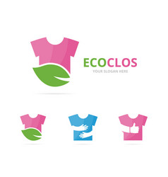 Set of cloth logo combination shirt and eco vector
