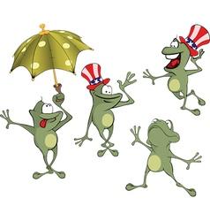 Set of cute cartoon green frog vector