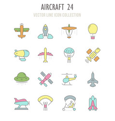 Set retro icons aircraft vector