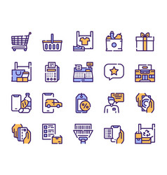 shopping items color icons set vector image