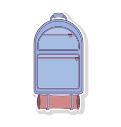 Silhouette backpack camping with sleeping bag vector