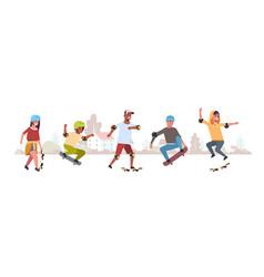skaters performing tricks in public skate board vector image