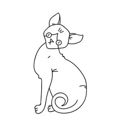 Sphynx icon in outline style isolated on white vector