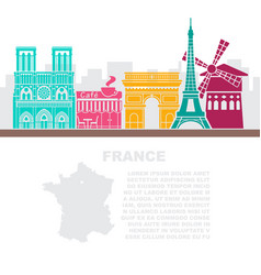 template leaflets with a map of france and vector image