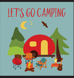 Travel lets go camping vector