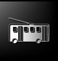 trolleybus sign gray 3d printed icon on vector image