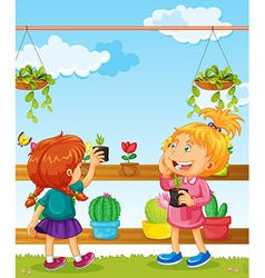 Two girls and many flower pots vector image