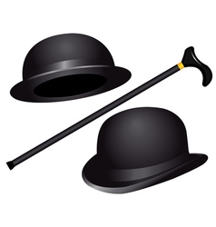 Two hats and cane vector