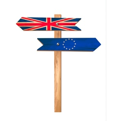 Two wooden signs - uk and eu brexit concept vector